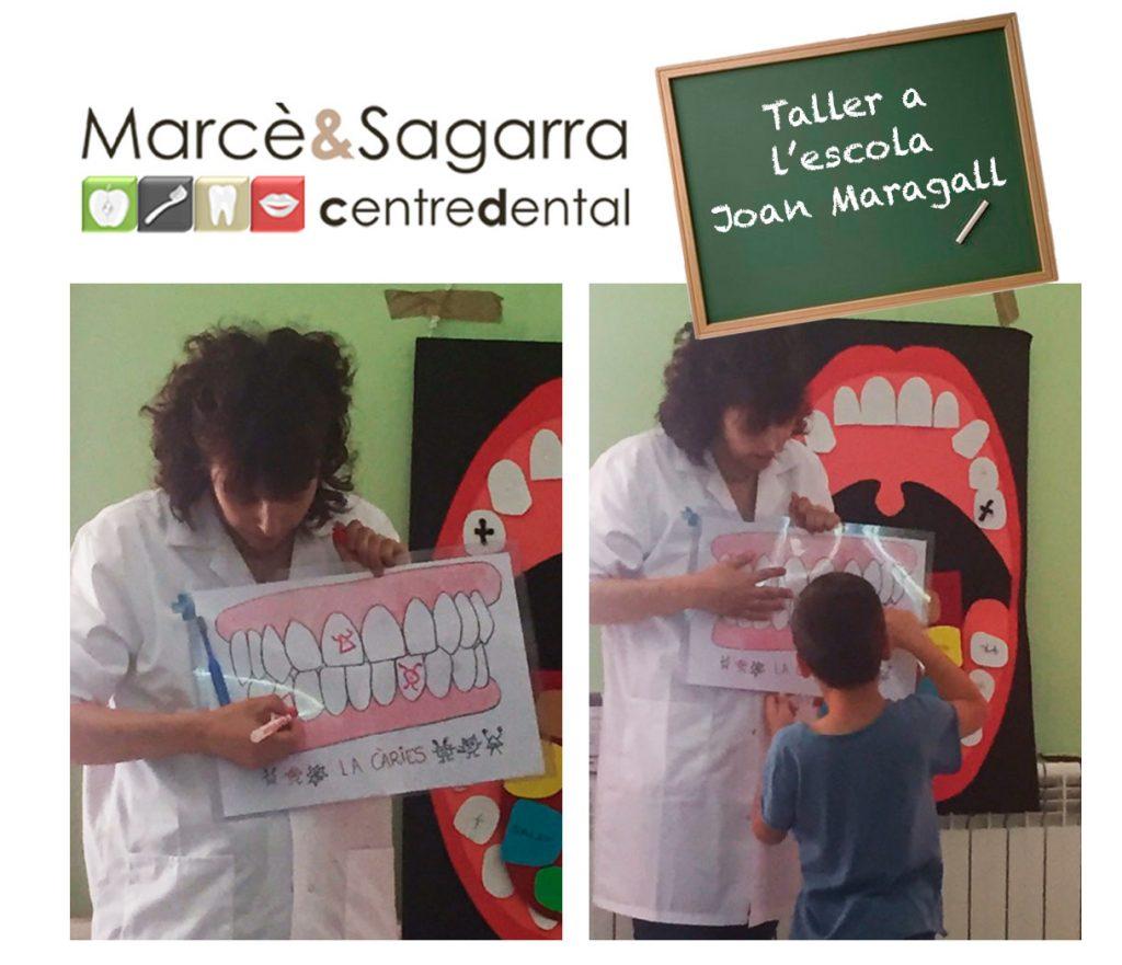 L'odontòloga Eva Marcè a l'escola Joan Maragall durant el taller sobre salut dental