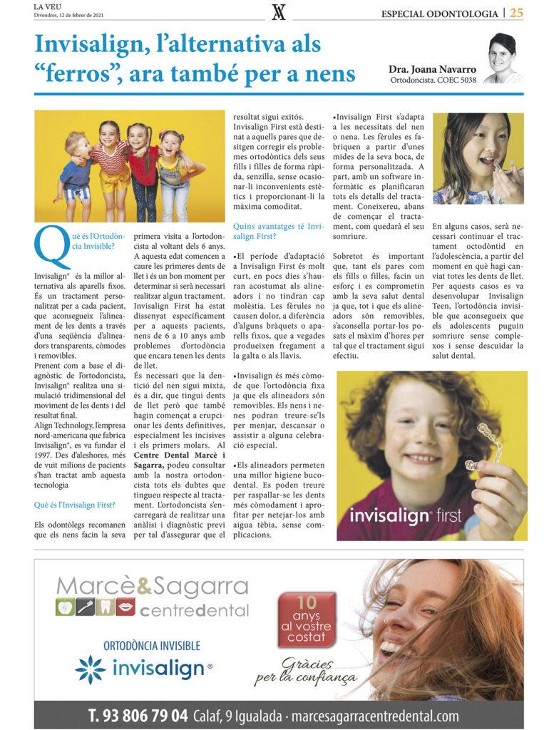 Reportatge Invisalign First de Marcè & Sagarra a La Veu de l'Anoia